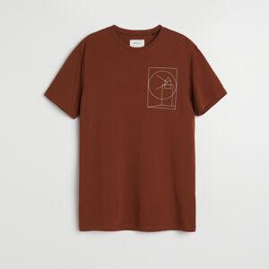 Reserved - Tričko s geometrickým potiskem - Hnědá