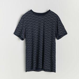Reserved - Tričko sdrobným potiskem - Tmavomodrá