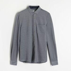 Reserved - Košile sdrobným potiskem slim fit - Tmavomodrá