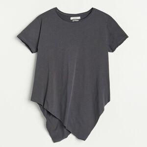 Reserved - Bavlněné tričko s asymetrickou dolní částí - Béžová