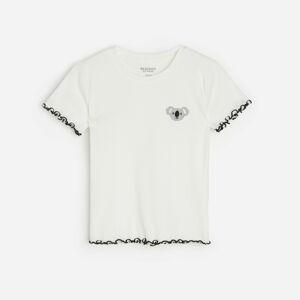 Reserved - Bavlněné tričko s aplikací - Krémová