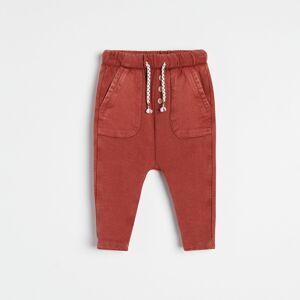 Reserved - Bavlněné kalhoty s kapsami - Červená