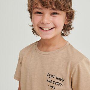 Reserved - Bavlněné tričko snápisy - Béžová