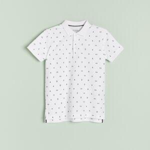 Reserved - Bavlněné vzorované polo - Bílá