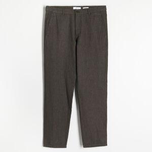 Reserved - Kalhoty chino spříměsí lnu - Zelená