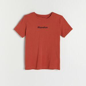 Reserved - Bavlněné tričko s popisem - Červená