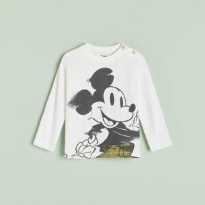 Reserved - Bavlněné tričko sdlouhými rukávy apotiskem Mickey Mouse - Krémová