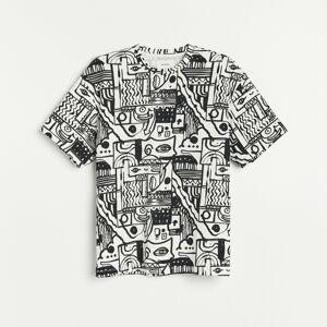 Reserved - Tričko sabstraktním potiskem - Krémová