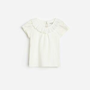 Reserved - Tričko sozdobným volánem avysokým podílem bavlny - Krémová