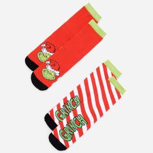 Reserved - Sada 2párů ponožek svánočním motivem Grinch - Červená