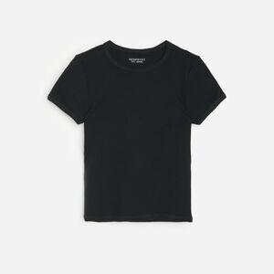 Reserved - Tričko zžebrovaného úpletu - Černý