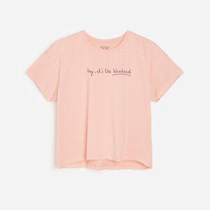 Reserved - Bavlněné tričko snápisem - Růžová
