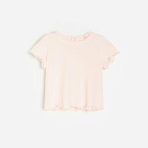 Reserved - Tričko svlnkovým lemem - Růžová
