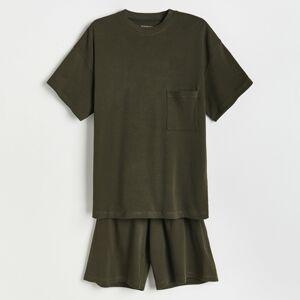 Reserved - Dvoudílná pyžamová souprava - Khaki