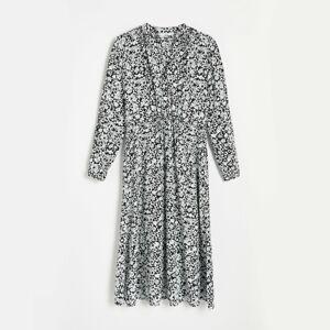 Reserved - Vzorované šaty zlátky EcoVero™ - Modrá