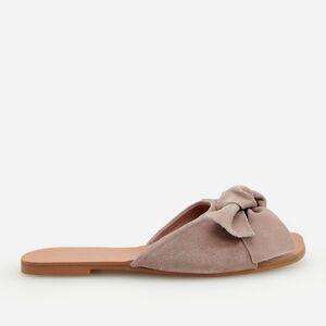 Reserved - Kožené pantofle sotevřenou špičkou - Fialová