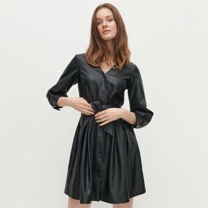 Reserved - Košilové šaty zimitace kůže - Černý