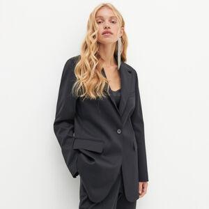Reserved - REDESIGN Klasické kostýmkové sako zvlněné směsi - Černý