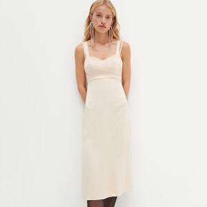 Reserved - REDESIGN Saténové prádlové šaty - Krémová