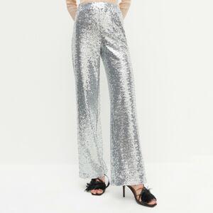 Reserved - REDESIGN Flitrové kalhoty - Stříbrná