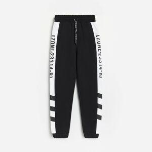 Reserved - Teplákové kalhoty s pruhy - Černý