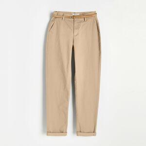 Reserved - Chino kalhoty s páskem - Béžová