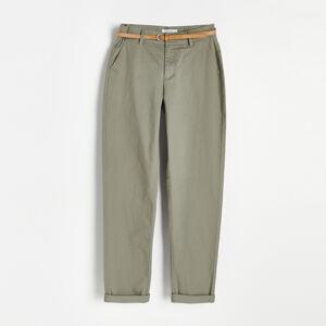 Reserved - Chino kalhoty s páskem - Khaki