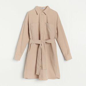 Reserved - Košilové šaty zmanšestrové látky - Béžová