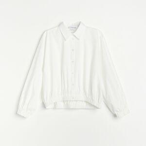 Reserved - Bavlněná košile sbalonovými rukávy - Krémová