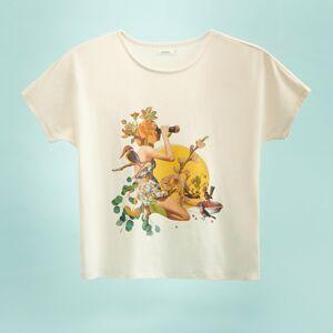 Reserved - Tričko s autorským potiskem - Krémová