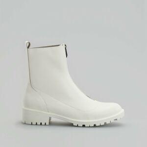Reserved - Kožené kotníkové boty se zapínáním na zip - Bílá