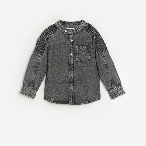 Reserved - Bavlněná košile se stojáčkem - Světle šedá