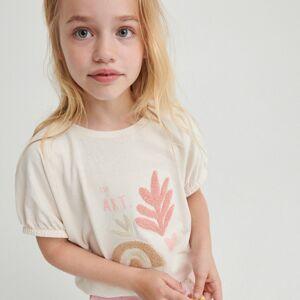 Reserved - Bavlněné tričko saplikací - Krémová