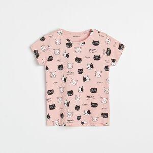 Reserved - Bavlněné tričko spotiskem - Růžová