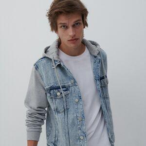 Reserved - Džínová bunda zkombinace látek - Modrá