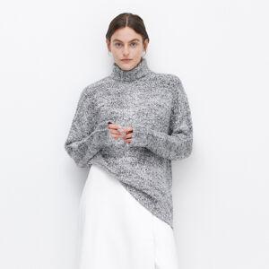 Reserved - Plyšový svetr srolákem - Stříbrná