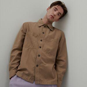 Reserved - Košilová bunda skapsami - Hnědá