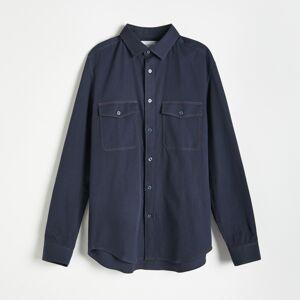 Reserved - Džínová košile regular fit - Tmavomodrá