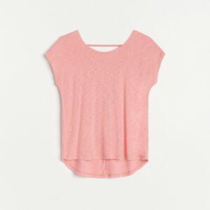 Reserved - Tričko s výstřihem na zádech - Oranžová