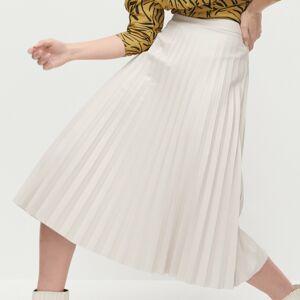 Reserved - Plisovaná koženková sukně - Béžová