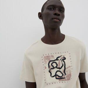 Reserved - Bavlněné tričko s potiskem - Světle šedá