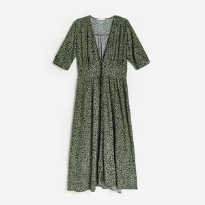 Reserved - Vzorované šaty z viskózy - Khaki