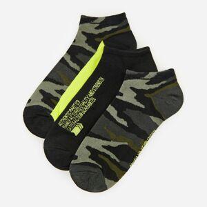 Reserved - Sada 3párů vzorovaných kotníkových ponožek svysokým podílem bavlny - Khaki