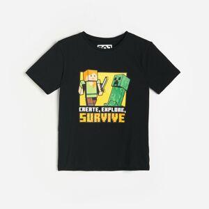 Reserved - Bavlněné tričko Minecraft - Černý