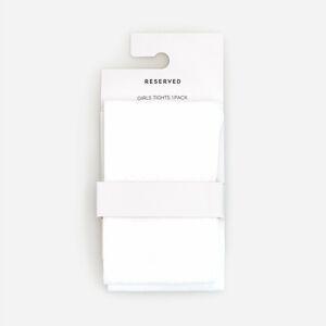 Reserved - Punčocháče s jemným vzorem - Bílá
