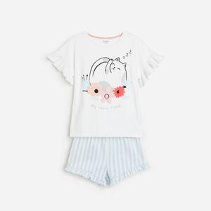 Reserved - Bavlněná pyžamová souprava saplikacemi - Bílá
