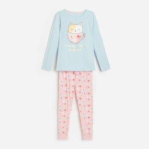 Reserved - Dvoudílná pyžamová souprava spotiskem kočky - Modrá