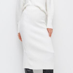 Reserved - Sukně s proužkované pleteniny - Bílá