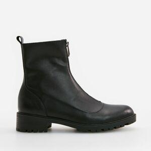 Reserved - Kožené kotníkové boty se zapínáním na zip - Černý
