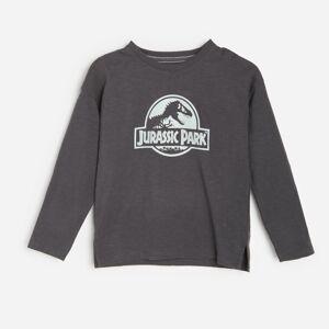 Reserved - Bavlněné tričko sdlouhými rukávy apotiskem Jurassic Park - Černý
